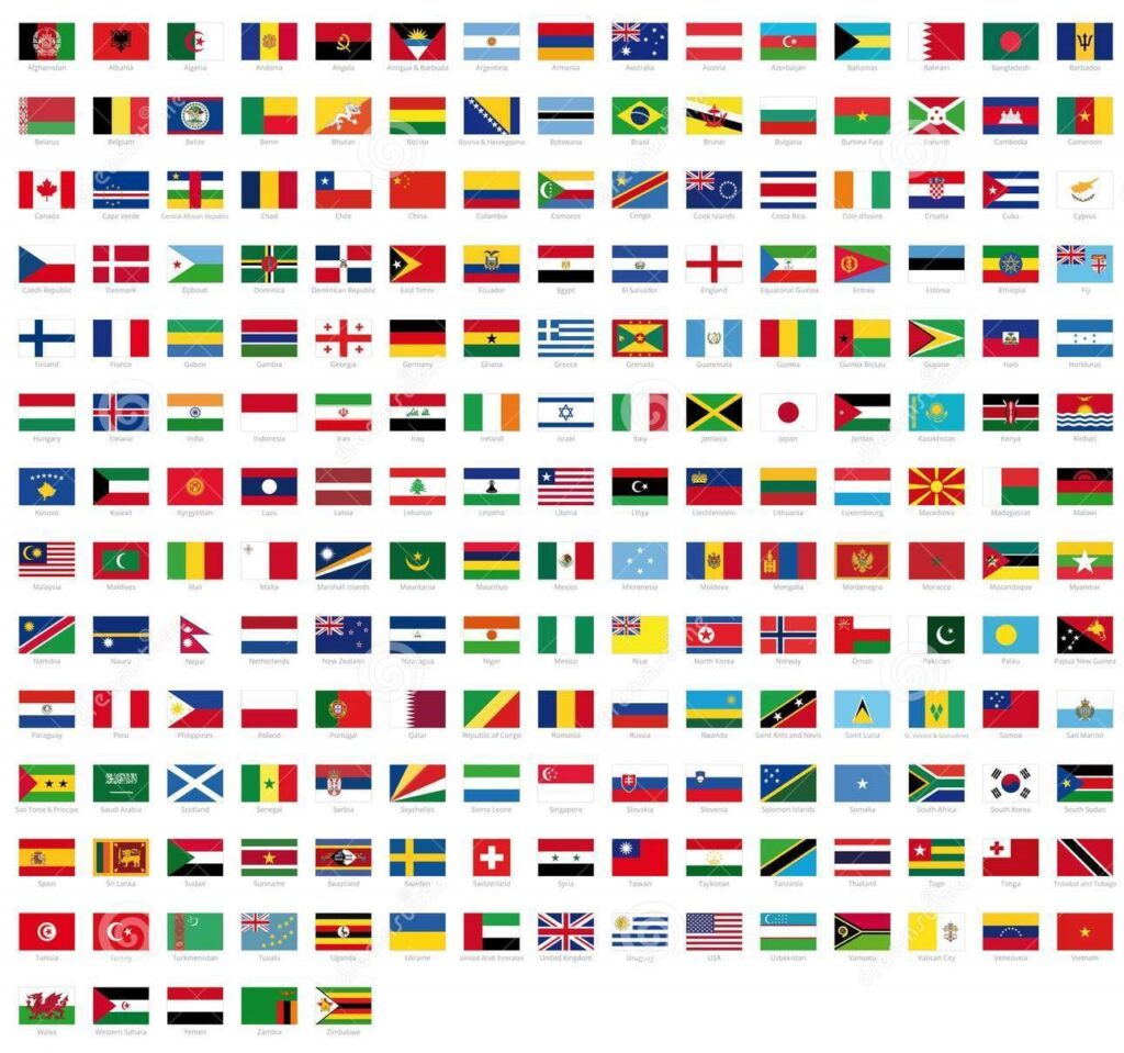 all national flags world names high quality vector flag isolated white background over 109417420